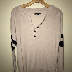 American Eagle Stripe Sleeve Sweater